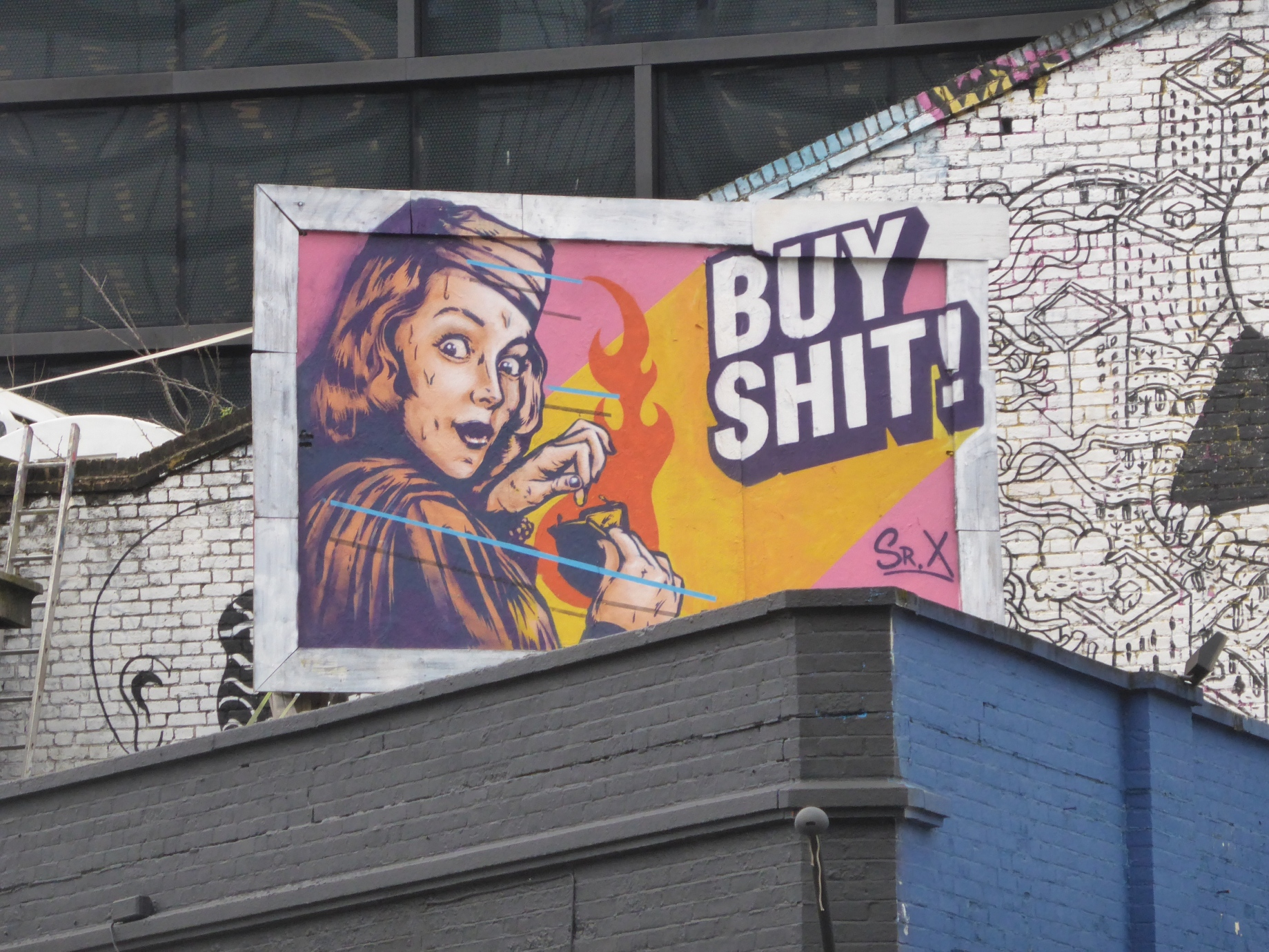New Sr. X Street Art 'Buy Shit!' In Shoreditch | London Calling Blog