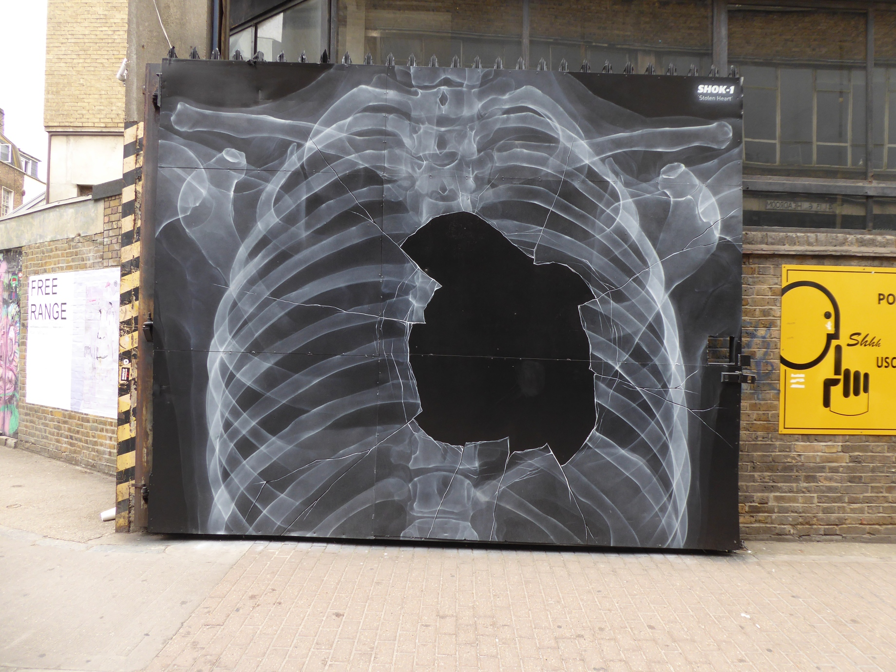 New shok 1 street art stolen heart in brick lane